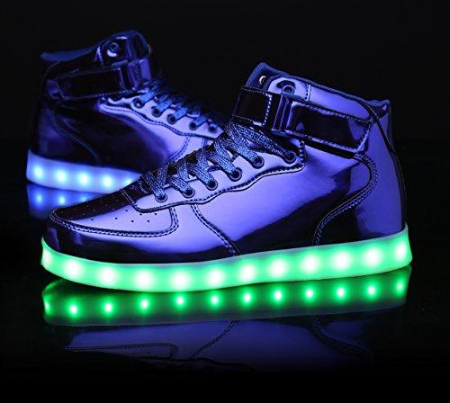 Mohem Shinynight High Top Led Schoenen Oplichten Usb Opladen Knipperende Sneakers Glanzend Blauw