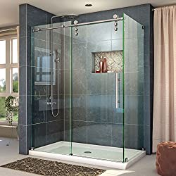 DreamLine Enigma-Z 34 1/2 in. D x 60 3/8 in. W x 76 in. H Fully Frameless Sliding Shower Enclosure in Brushed Stainless Steel, SHEN-6234600-07