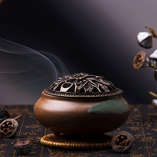 Incense Burner with Brass Calabash Incense Stick Holder - Porcelain Decorated Charcoal Censer for Use with Resin Granular Powder Cone or Coil Incense- Ceramic Incense Ash Catcher Tray Bowl (Brown)