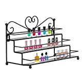 Dazone Mounted 3 Tier Metal Shelf Nail Polish Wall Rack Essential Oils Perfume Organizer