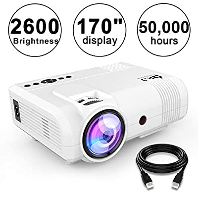 "DR. J Professional 2600 Brightness Home Theater Mini Projector Max. 170"" Display, Full HD LED Projector 1080P/HDMI/VGA/USB/TF/AV/Sound Bar/Video Games/TV 1080P Support (White)"