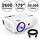 "DR.J 2400Lumens Mini Projector Max. 170"" Display, Full HD LCD Projector Compatible"
