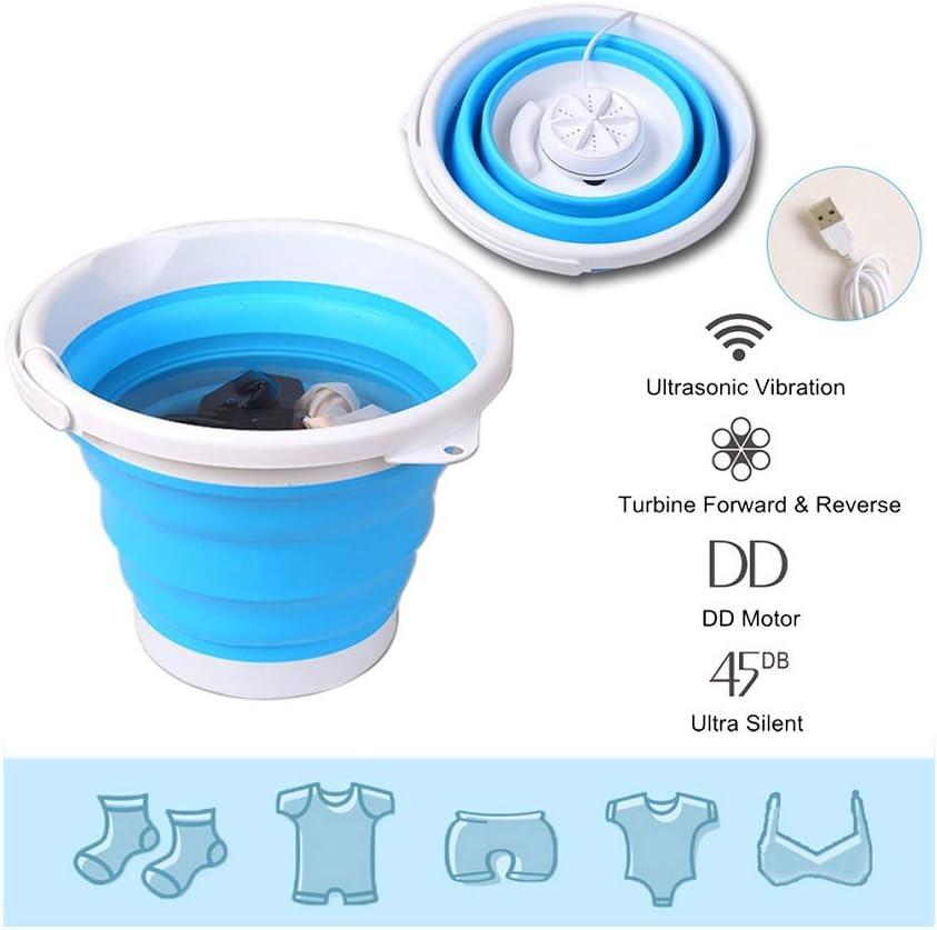 Lavadora plegable Mini lavadora de ropa portátil Cubo Mini bañera eléctrica Lavadora de turbina ultrasónica Mini lavadora de viaje con alimentación USB para dormitorio, apartamento, RV, camping