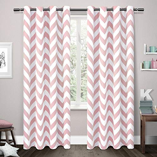 Exclusive Home Curtains Mars Woven Blackout Thermal Window Curtain Panel Pair with Grommet Top, 52x96, Bubble Gum, 2 Piece ()