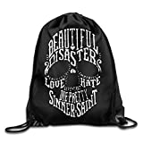 Beautiful disaster love hate Skull Cool Drawstring Backpack String Bag