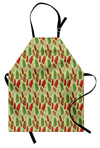 Lunarable Vintage Apron by, Vintage Pattern with Glass Jars Kitchenware Pickles Picnic Retro Cafe Home, Unisex Kitchen Bib Apron with Adjustable Neck for Cooking Baking Gardening, Green Red (Pickle Costume Pattern)