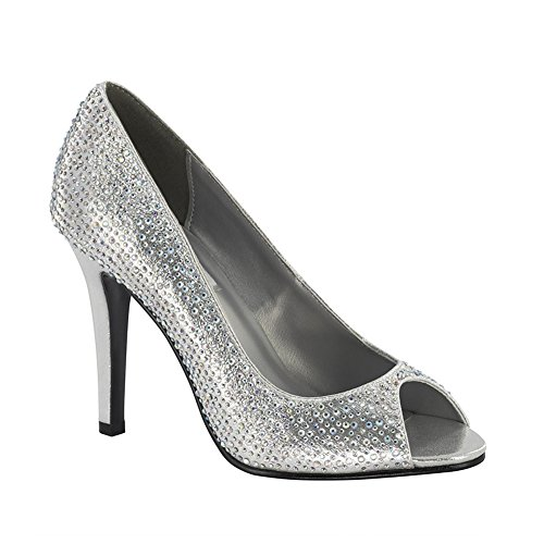 Dyeables Women's Sienna Dress Pump, Silver, 8.5 M US