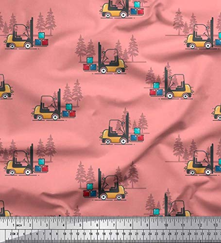 Soimoi Orange Poly Crepe Fabric Tree & Forklift Truck Transport Print Fabric by The Yard 52 Inch Wide