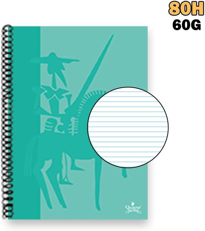 Con Los Cantos Romos Folio de 80H Cuadros 4x4 MM Quijote Paper World Cuaderno Tapa Dura Tama/ño A4 Color Azul 60G