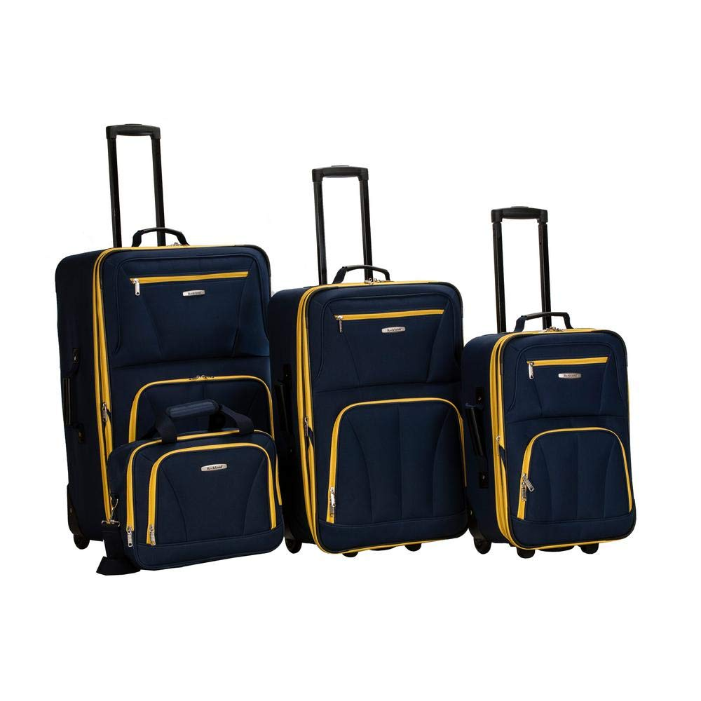 Rockland Luggage Skate Wheels 4 Piece Luggage Set, Navy