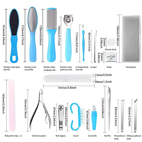 Professional Pedicure Tools Set 17 in 1, Foot File Set Stainless Steel Foot Rasp Foot Care Dead Skin Remover Nail Clipper Manicure Set for Men Women Salon Home