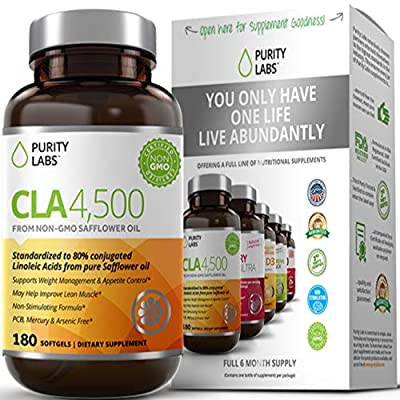 PurityLabs CLA Safflower Oil Supplement 4500mg - Max Potency Serving, Non-GMO & Gluten Free Conjugated Linoleic Acid Pills, Natural Weight Loss and Belly Fat Burner, 180 Softgels