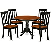 East West Furniture HLAN5-BCH-W 5Piece Hartland Set with One Round 42in Dinette Table & 4 Dinette Chairs with Solid Wood Seat in a Black & Cherry Finish