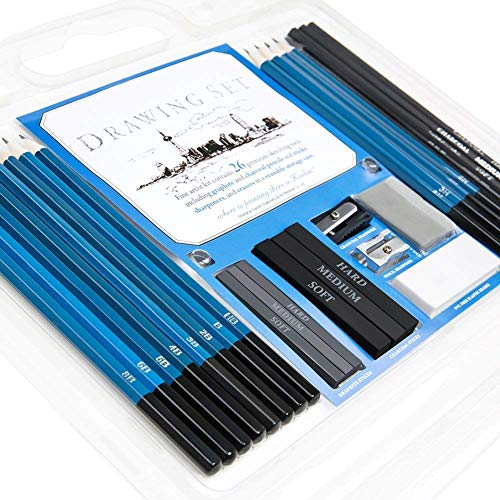 Sketching and Drawing Pencils Set, Charcoal and Graphite Art Kit, 8B, 6B, 5B, 4B, 3B, 2B, B, HB, 2H, 3H, 4H, 5H Pencils and Erasers, 26 Piece Set