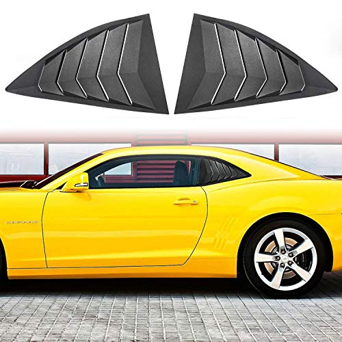 Sunluway for Chevy Camaro 2010-2015 Quarter Side Window Scoop Louvers ABS Window Visor Cover Sun Rain Shade Vent