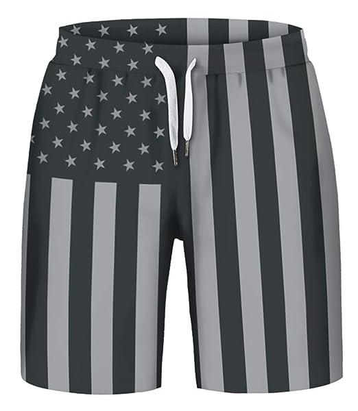 6cf97127e0 GLUDEAR Men's Quick Dry Swim Trunks All Over Printed Surfing Boardshort  Beach Short,American Flag