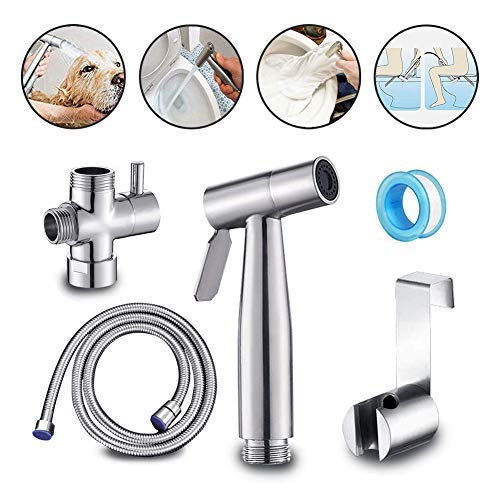 Stainless Steel Baby Cloth Diaper Sprayer Kit Handheld Bidet Set with Hose, Nozzle, T-Valve and Tank Mount Hook for Toilet Shower Cleaner and Washer Rinse by PrimeweToddlers