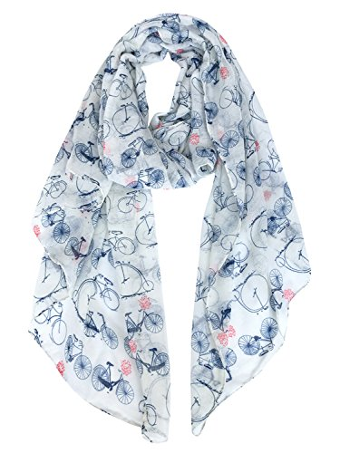 GERINLY Fashion Lightweight Scarves: Women's Bicycle Print Shawl Scarf (White Style) -