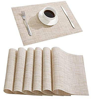 DOLOPL Placemat Placemats Waterproof Beige Placemats Set of 6 Crossweave Woven Vinyl Laminated Table Mat Easy to Clean Heat Resistant Wipeable Spring Placemats for Dining Table - ►Enviromental Meterial:The placemat is FDA approved eco-friendly kitchen accessories,these table placemats are made of high quality PVC and jelly, it's durable and waterproof better, non-fading. [Due to the influence of the waterproof film for the table mats, it's normal for the beige placemats to have an odor. Please place it for one day(it's better) after receiving the wipeable placemats.] ►100%Waterproof and Easy to Clean:the placemats' back of jelly, the kitchen table placemats are waterproof, also these stain proof placemats are easy to clean, just using the wet cloth or towel to wipe off when the table mats have some liquids, or go head to wash the Christmas placemats with soft brush after you finished a BBQ or meal time. ►Heat Resistant Placemats:these set of 6 placemats are heat insulation, resistant to combustion, acid-base, wear-resistant and has good warmth and elasticity. Please make sure your plates are ≤212℉(100℃),it's awsome to protect your wood, glass or other material table. - placemats, kitchen-dining-room-table-linens, kitchen-dining-room - 517xGnNpvXL. SS400  -