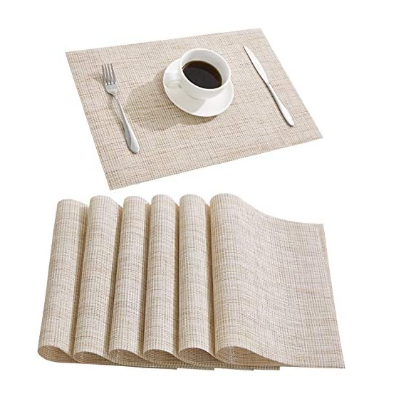 DOLOPL Placemat Placemats Waterproof Beige Placemats Set of 6 Crossweave Woven Vinyl Laminated Table Mat Easy to Clean Heat Resistant Wipeable Spring Placemats for Dining Table - ►Enviromental Meterial:The placemat is FDA approved eco-friendly kitchen accessories,these table placemats are made of high quality PVC and jelly, it's durable and waterproof better, non-fading. [Due to the influence of the waterproof film for the table mats, it's normal for the beige placemats to have an odor. Please place it for one day(it's better) after receiving the wipeable placemats.] ►100%Waterproof and Easy to Clean:the placemats' back of jelly, the kitchen table placemats are waterproof, also these stain proof placemats are easy to clean, just using the wet cloth or towel to wipe off when the table mats have some liquids, or go head to wash the Christmas placemats with soft brush after you finished a BBQ or meal time. ►Heat Resistant Placemats:these set of 6 placemats are heat insulation, resistant to combustion, acid-base, wear-resistant and has good warmth and elasticity. Please make sure your plates are ≤212℉(100℃),it's awsome to protect your wood, glass or other material table. - placemats, kitchen-dining-room-table-linens, kitchen-dining-room - 517xGnNpvXL. SS570  -