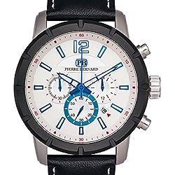 Pierre Bernard Men's Steeplechase Chronograph Watch, Multi-Level Textured Dial, Genuine Leather, Superluminova