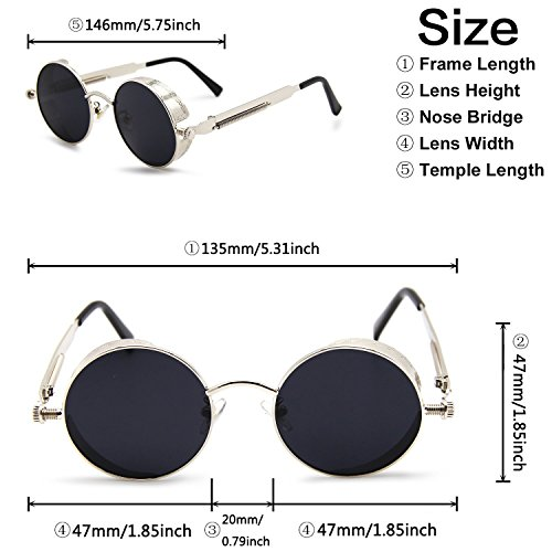 Glasses Sunglasses Driving Frame Metal Silver Lens Men Retro UV Black TEMPO Woman Frame Protective Steampunk Polarized Round P5n7qxYAI