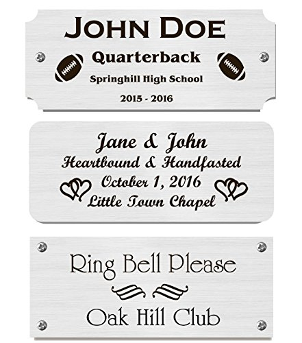 2' H x 5' W, Silver Finish Solid Copper Nameplate Personalized Custom Laser Engraved Label Art Tag for Frames Notched Square or Round Corners Made in USA