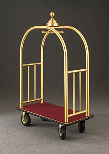 (Glaro 8848 Signature Bellman Cart with Satin Brass finish, Burgundy carpet color, and Black bumper. Includes Pneumatic Black tires.)