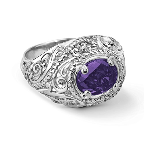 (Carolyn Pollack Sterling Silver Amethyst Gemstone Ring Size 6)