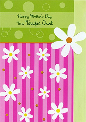 Daisies on Pink Stripes: Aunt - Designer Greetings Mother's Day (Silver Embossed Daisy)