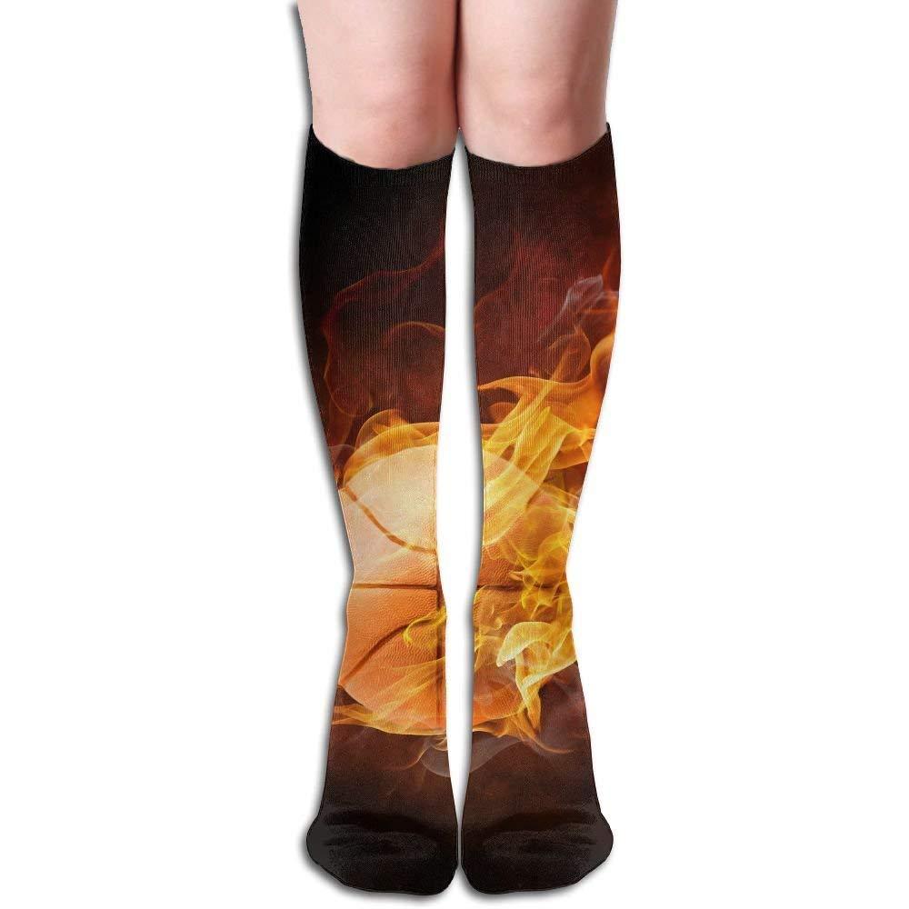 Xukmefat Basketball In Black Background Women\'s Fashion Knee High Socks Casual Socks