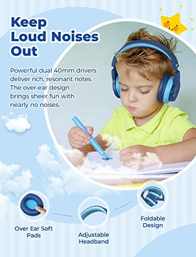 IClever BTH12 Kids Headphones, Colorful LED Lights Kids Wireless Headphones With 74/85/94dB Volume Limited Over Ear, 40H Playtime, Bluetooth 5.0, Built-in Mic For School/Tablet/PC/Airplane, Blue
