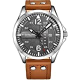 Stuhrling Original Mens Analog Stainless Steel Sport Aviator Watch, Quick-Set Day-Date, Brown Casual Leather Strap
