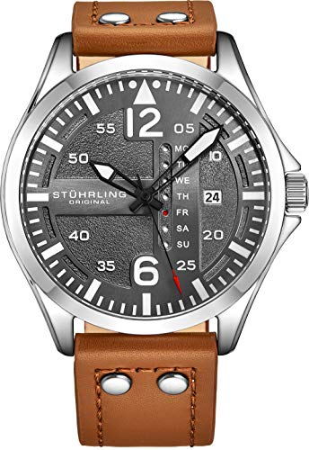 Stuhrling Original Mens Analog Stainless Steel Sport Aviator Watch, Quick-Set Day-Date, Brown Casual Leather Strap ()