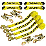 Vulcan Classic Yellow 8-Point Roll Back Vehicle Tie Down Kit with Snap Hooks On Both Ends (Set of 4)