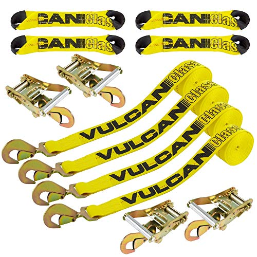 VULCAN 8-Point Roll Back Vehicle Tie Down Kit with Snap Hooks On Both Ends, Set of 4 - Classic Yellow