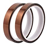 uxcell 2 Pcs 15mm Width 30M Length High Temp Heat Resistant Polyimide Tape Brown