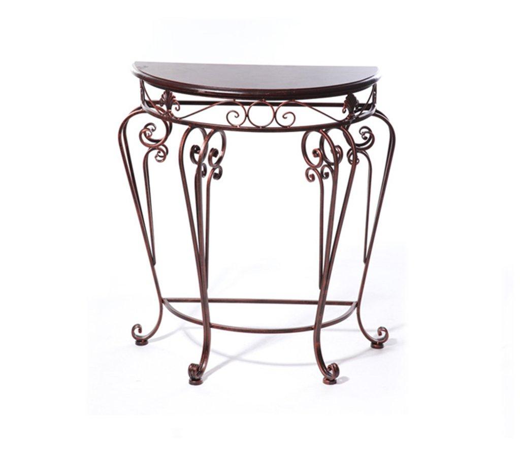 フラワーラック、ヨーロッパスタイルの鉄古典的なデスク半円形テーブル入り口テーブル紅茶テーブルセットフラワーラック60 * 30 * 70センチメートル ( 色 : ブロンズ ) B075FK287V ブロンズ ブロンズ