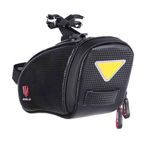 Recumbent Bicycle Wheels (Bike Saddle Bag WHEEL UP TPU Waterproof Bicycle Seat Bag Reflective MTB Cycling Rear Seat Pack Bike Tail Bag Lightweight & Adjustable Seat Bag Black)