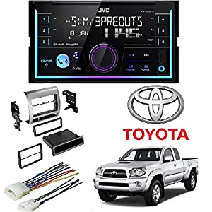 JVC KW-R930BTS 2-Din in-Dash Car Stereo CD Player w/Car Radio Stereo Single Double DIN Dash Kit Harness for 2005-2011 Toyota Tacoma
