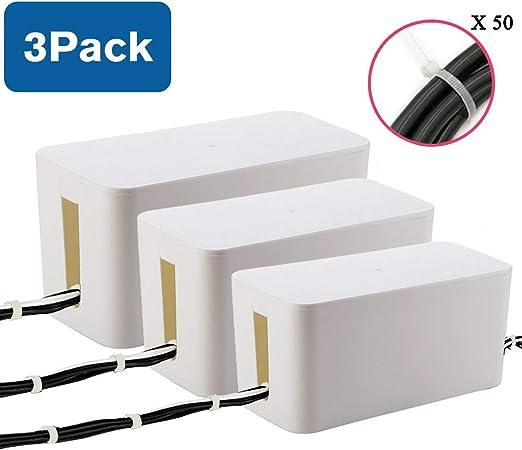 3 PIEZAS Caja Ppara Cables | Organizador Para Cables Para Escritorio, TV, Computadora, Concentrador USB (Cubre y Oculta Ttiras y Cables de Alimentación) - 50 piezas Ataduras de Cables GRATIS: Amazon.es: Hogar