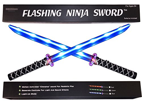 Ninja Sword Toy Light-Up (LED) 2 PACK! Deluxe with Motion Activated Clanging Sounds (Swords Toy)
