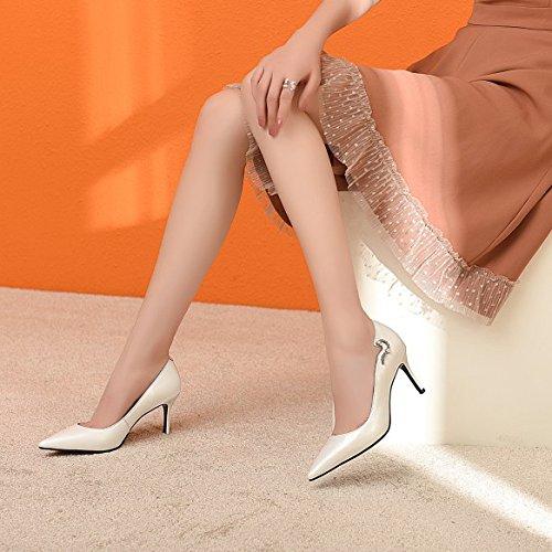 Les Sur Profondes Chaussures Des Stiletto A Hauts Beige Chaussures Pompes De Bureau Peu Beige Glissent Noir Cuir Mariage Fête Des À Femmes Talons noir De wqP4xnO6X