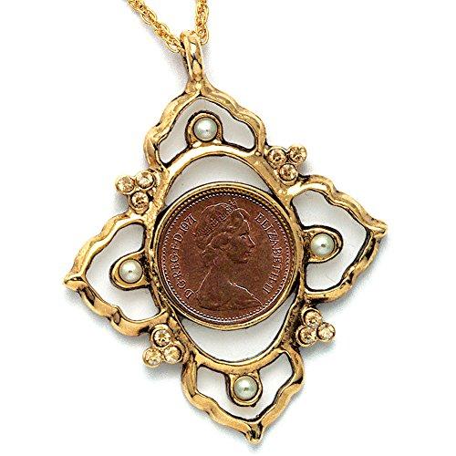 Queen Elizabeth Penny - Queen Elizabeth II Half New Penny Coin Pendant w/21 Inch Goldtone Chain