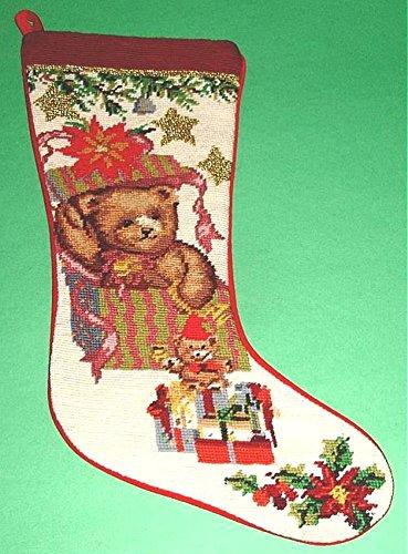 (Sferra Christmas Stocking Teddy Bear In Gift Box Wool Needlepoint Handmade New)