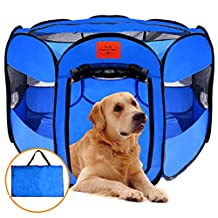 MyDeal Pop Up Pet Exercise Play Pen Tent Portable Kennel with Weather Resistant Oxford Material, 8 Windows and Removeable Zipper Top for Puppies , Dogs , Kittens , Cats , Rabbits + more! Includes Bag