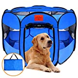 MyDeal Pop Up Pet Exercise Play Pen Tent Portable Kennel Weather Resistant Oxford Material, 8 Windows Removable Zipper Top Puppies, Dogs, Kittens, Cats, Rabbits + More! Includes Bag