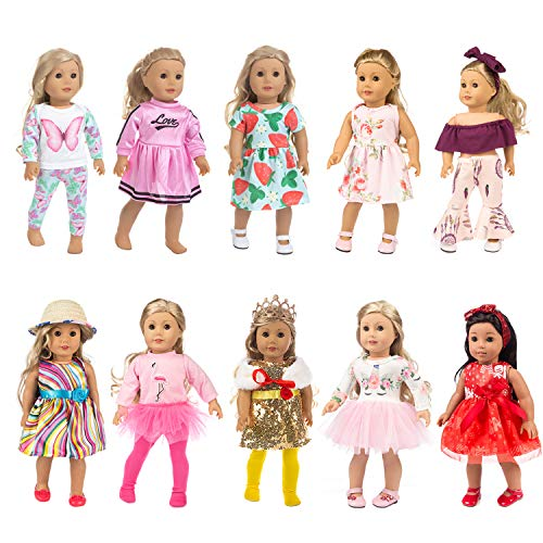 HOAYO 10 Sets Girl Doll Clothes and Accessories for 18-inch Dolls, 21 Items Doll Clothes Gift for 18-Inch American Girl Dolls