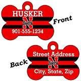 Nebraska Cornhuskers Double Sided Pet Id Dog Tag Personalized With 4 Lines of Text