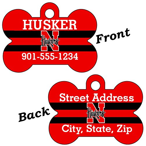 (Nebraska Cornhuskers Double Sided Pet Id Dog Tag Personalized With 4 Lines of Text)